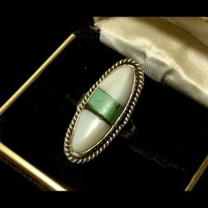 Vtg 1950s Turquoise & White Coral Oval Ring (6)